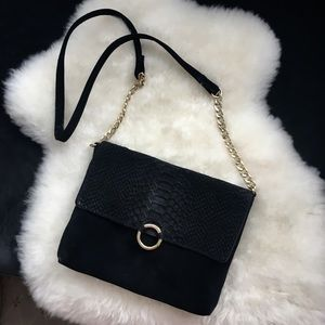 Suede and Gold Crossbody